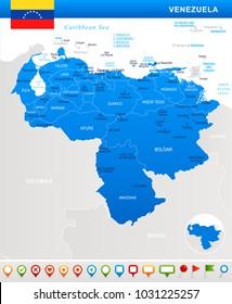 Venezuela map and flag - highly detailed vector illustration