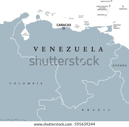 Venezuela Political Map Capital Caracas National Stock Vector ...