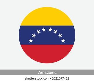 Venezuela Round Circle Flag. Venezuelan Circular Button Banner Icon. EPS Vector