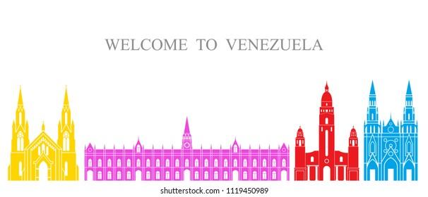 Venezuela set. Isolated Venezuela architecture on white background. EPS 10. Vector illustration