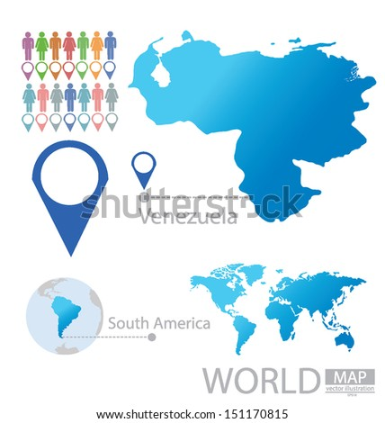 Venezuela South America World Map Vector Stock Vector (Royalty Free ...