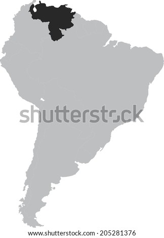 Venezuela Vector Map On South America Stock Vector Royalty Free