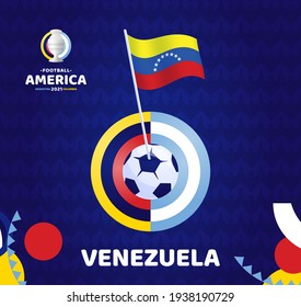 Venezuela wave flag on pole and soccer ball. South America Football 2021 Argentina Colombia vector illustration. Copa america 2021 Tournament pattern background