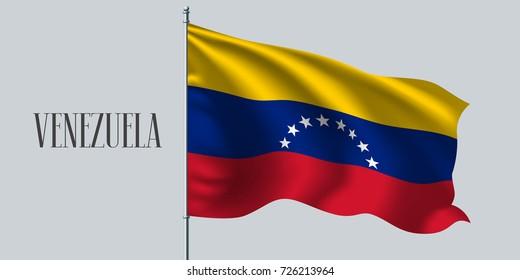 Venezuela waving flag on flagpole vector illustration. Three colors element of Venezuelan wavy realistic flag as a symbol of country