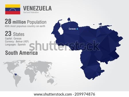 Venezuela World Map Pixel Diamond Texture Stock Vector (Royalty Free ...