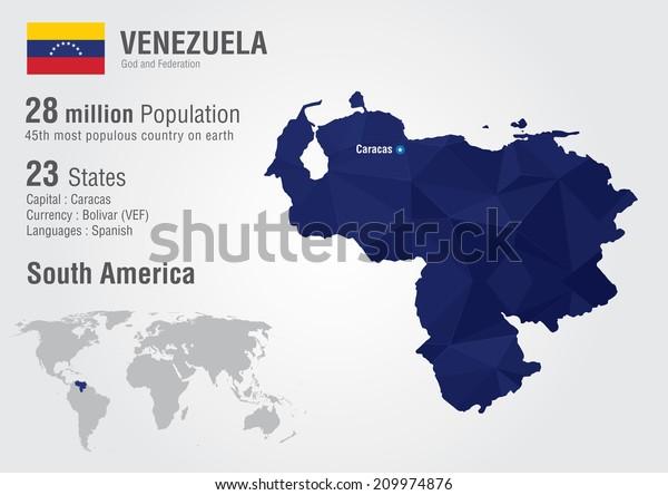 Venezuela World Map Pixel Diamond Texture Stock Vector ...