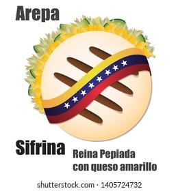 "Venezuelan fast food Arepa stuffed Vector Illustration (""AREPA SIFRINA"" Translation: ""Reina Pepiada"" with cheddar cheese)"