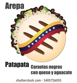 "Venezuelan fast food Arepa stuffed Vector Illustration (""AREPA PATAPATA"" Translation: Black beans with cheese and avocado)"