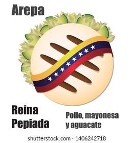 "Venezuelan fast food Arepa stuffed Vector Illustration (""AREPA REINA PEPIADA"" Translation: Chicken, mayonnaise and avocado)"