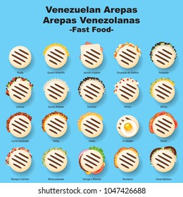 Venezuelan fast food, Arepas stuffed