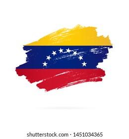 Venezuelan flag. Vector illustration on white background. Brush strokes drawn by hand.