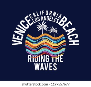 Venice Beach California Wave Surf Palm Surfboard Beach Vintage Retro Slogan summer style vector design paradise scene with palm and typography for t-shirt and apparels print, vector illustration