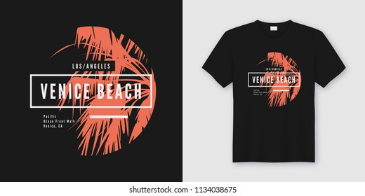 Venice beach t-shirt and apparel trendy design with palm tree silhouette, typography, poster, print, vector illustration. Global swatches.