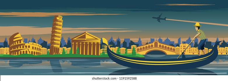 Venice boat and Pisa tower.Italy famous landmark and symbol.for cloth and web design,vintage color in circle style,vector illustration