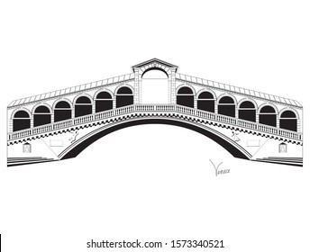 Venice bridge vector black and white icon in flat style isolated on white background.