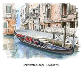 Venice - Calle Fondamenta Megio. Ancient building & gondola. Vector sketch. Eps10