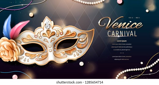 Venice carnival banner design with beautiful mask in 3d illustration, bokeh rhombus background