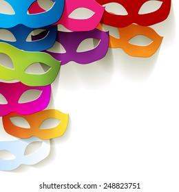 Venice carnival mask in the corner paper colorful