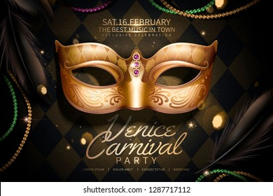Venice carnival party design with golden mask in 3d illustration on rhombus black background