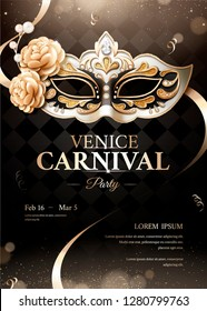 Venice carnival party poster with sumptuous mask on black bokeh background in 3d illustration