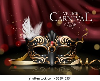 Venice carnival poster, black ornate mask with diamonds and golden frame elements isolated on bokeh scarlet curtain in 3d illustration