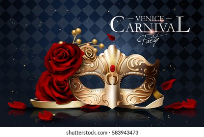Venice carnival poster, golden mask with diamonds and roses isolated on blue geometric background in 3d illustration