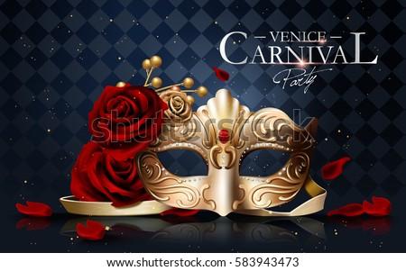 75c139576 Venice Carnival Poster Golden Mask Diamonds Vector de stock (libre ...