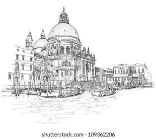 Venice - Cathedral of Santa Maria della Salute - vector drawing