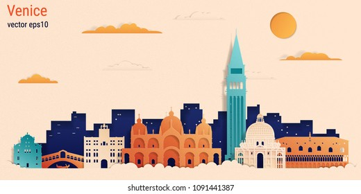 Venice city colorful paper cut style, vector stock illustration. Cityscape with all famous buildings. Skyline Venice city composition for design