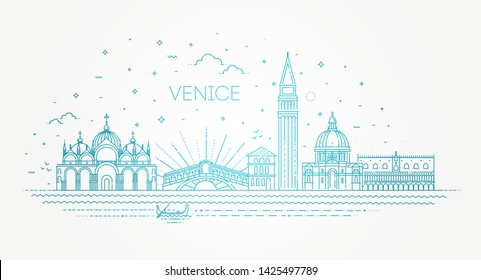 Venice city, illustration. Vector Venice buildings set
