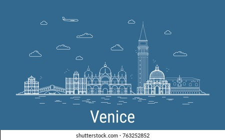 Venice city, Line Art Vector illustration with all famous buildings. Linear Banner with Showplace. Composition of Modern cityscape. Venice buildings set