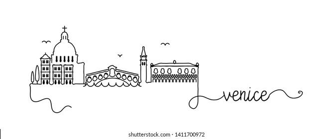 Venice City Skyline Doodle Sign