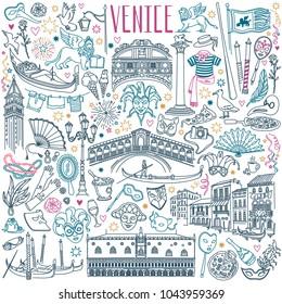 Venice doodle set. Venetian carnival masks, landmarks, italian cuisine and  gondolas. Vector drawing isolated on white background.
