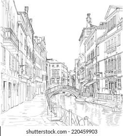 Venice - Fondamenta Rio Marin. Vector drawing