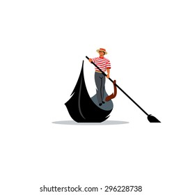Venice gondola, gondolier rowing oar sign. Italy Travel. Italian man profession. Vector Illustration. Branding Identity Corporate logo design template Isolated on a white background