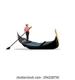 Venice gondola, gondolier rowing oar sign. Italy Travel. Italian man profession. Vector Illustration. Branding Identity Corporate logo design template Isolated on a white background