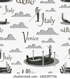 Venice gondola and gondolier in shades of gray. Seamless pattern. Invitation to travel to Italy. Italian male profession. Design elements for the background of the site, tourist poster, textiles.