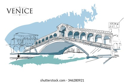 Venice - Grand Canal - Rialto Bridge. Vector drawing freehand vintage illustration