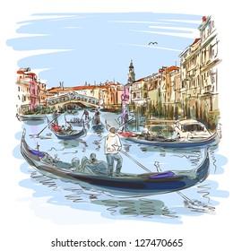 Venice - Grand Canal. View of the Rialto Bridge. Vector sketch. Eps10