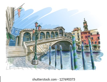 Venice - Grand Canal. View of the Rialto Bridge. Vector drawing. Eps10