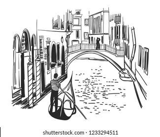 Venice hand drawn illustration. Floating gondola with gondolier on canal. Black ink pen sketch. City architecture. Freehand contour drawing. Cityscape graphic composition. Travel postcard template