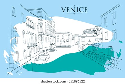 Venice houses. Vector drawing freehand blue vintage illustration