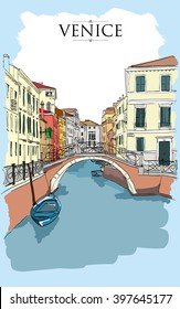 Venice houses. Vector drawing, freehand colored vintage illustration