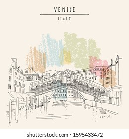 Venice, Italy, Europe. Famous Rialto bridge across Grand canal. Travel sketch. Artistic hand drawing. Vector hand drawn postcard, poster, artistic book, calendar or travel booklet EPS10 illustration