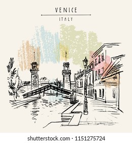 Venice, Italy, Europe. Venetian Arsenal (Arsenale di Venezia). Entrance to the naval Arsenal. Porta di Terra clock towers, Rio de l'Arsenale canal bridge. Travel sketch. Vector hand drawn postcard