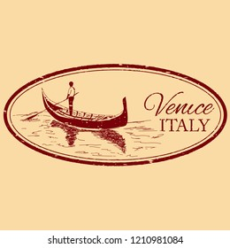 Venice, Italy isolated postage stamp. Venezia architecture with gondola vector illustration. Vintage engraved postmark.