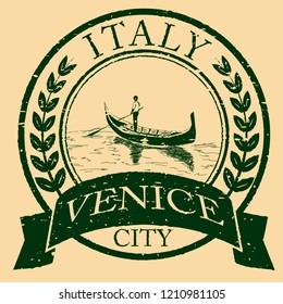 Venice, Italy isolated postage stamp. Venezia architecture with gondola vector illustration. Vintage engraved postmark.
