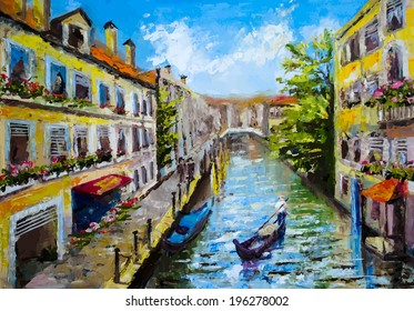 Venice, Italy - oil painting style