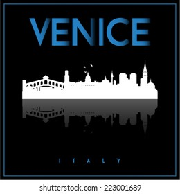 Venice, Italy, skyline silhouette vector design on parliament blue and black background.