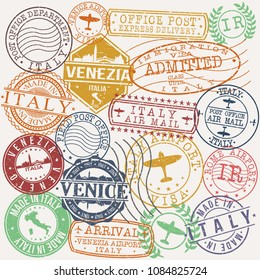 Venice Italy Stamp Vector Art Postal Passport Travel Design Set